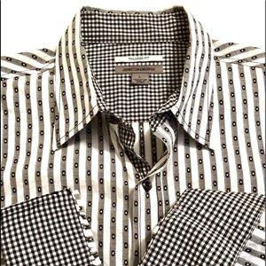 Other - Johnston & Murphy Black White Stripe Check Shirt